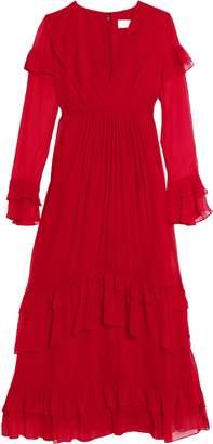 Mikael Aghal Ruffled Silk-georgette Midi Dress