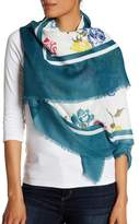 Joe Fresh Print Wrap Raw Hem Scarf
