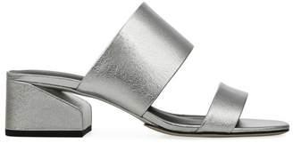 Via Spiga Phillipa Metalic-Leather Block Heel Slides