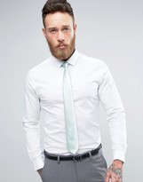 Asos WEDDING Skinny Shirt In White With Mint Tie SAVE
