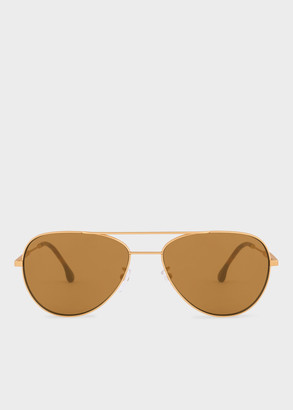 Paul Smith Matte Gold And Tortoise 'Angus' Sunglasses