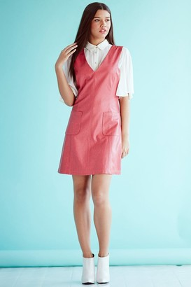 Girls On Film Rasberry faux Leather Dress