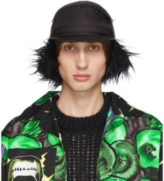 Prada Black Fur Flap Iris Cap