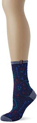 Tommy Hilfiger Th Women Sock 1p Paisley Lurex Calf (Navy/Red 831), (Size: 039)
