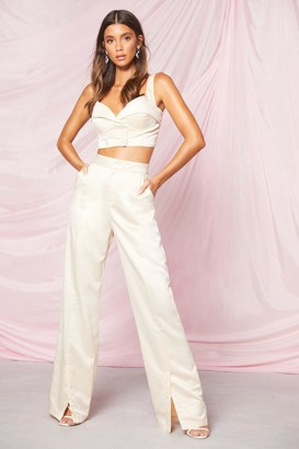 boohoo Occasion Button Detail Wide Leg Pants
