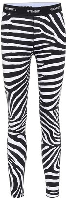 Vetements Logo zebra-print leggings