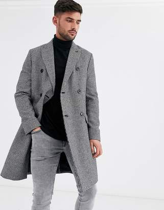 Burton Menswear faux wool double breasted overcoat in check-Black
