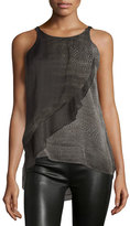 Halston Sleeveless Asymmetric-Ruffle Top, Black Print