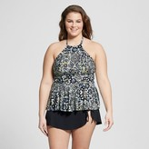 Sea Angel Women's Plus Size Moroccan Haze High Neck Peplum Tankini Top Black