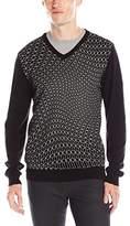 Calvin Klein Men's Slim-Fit Reflective-Printed V-Neck Sweater