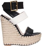 Elie Saab 160mm Tokyo Leather Wrap Wedge Sandals