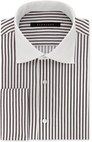 Sean John Men's Fitted Tailored-Cut Brown Stripe Dress Shirt