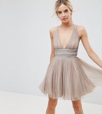 Asos Tulle Strappy Embellished Mini Skater Dress-Beige