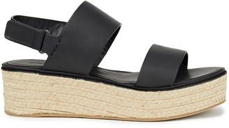 Vince Leather Platform Espadrille Sandals