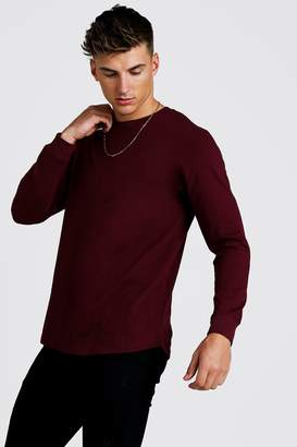 BoohoomanBoohooMAN Mens Red Long Sleeve T-Shirt With Curved Hem, Red