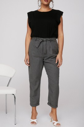 Nasty Gal Womens As Line Goes By Plus Pinstripe Trousers - Grey - 16