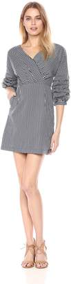 J.o.a. Women's Overlapping Wide Neck Dress with Puff Sleeve Navy Stripe L