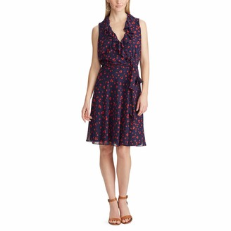 Chaps Women's Ruffled Floral Georgette Dress
