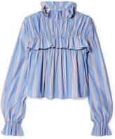 Marni Ruffled Striped Cotton-poplin Top - Blue
