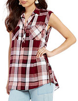 Takara Sleeveless Plaid Shirt