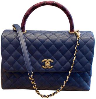 Chanel Coco Handle Navy Leather Handbags