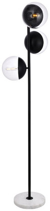 "clear 17.5"" Modern 3-Light Floor Lamp With Glass, Black"