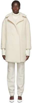 Harris Wharf London Off-White Shearling Double Breasted Coat