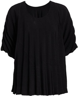 Issey Miyake Panorama Ribbed Pleated Short-Sleeve Top