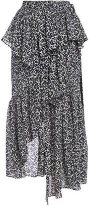 GOEN.J Asymmetric Ruffled Floral-jacquard Skirt