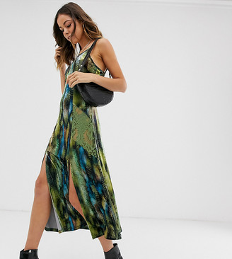 N. Ebonie Ivory midi slip dress in abstract print with lace panels