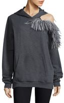 Christopher Kane Feather-Detail Cold-Shoulder Hoodie