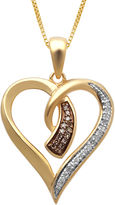 JCPenney FINE JEWELRY 1/10 CT. T.W. White and Champagne Diamond Heart Pendant Necklace