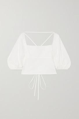 Reformation Celia Open-back Organic Cotton-blend Poplin Top - White
