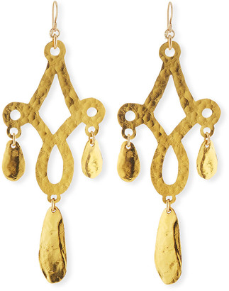 Devon Leigh Hammered Filigree Leaf Drop Earrings
