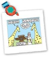 3dRose LLC qs_3005_1 Rich Diesslins Famous People Places Books Cartoons - Noah and the Girrafes - Quilt Squares