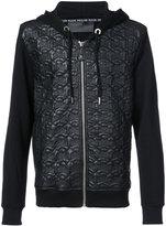 Philipp Plein leather skull hoodie - men - Cotton/Leather/Polyester/Polyurethane - L