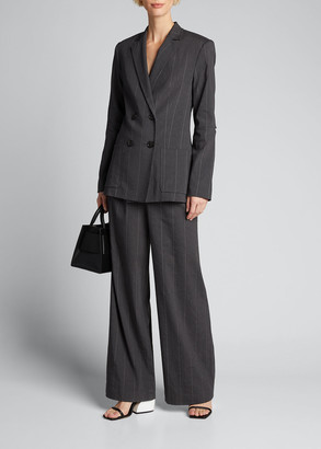 Tibi Isselin Stripe Blazer with Cutout Sleeve
