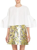 DELPOZO Architectural-Sleeve Cotton Blouse, White