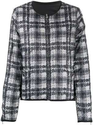Chanel Pre Owned Plaid Print Reversible Jacket