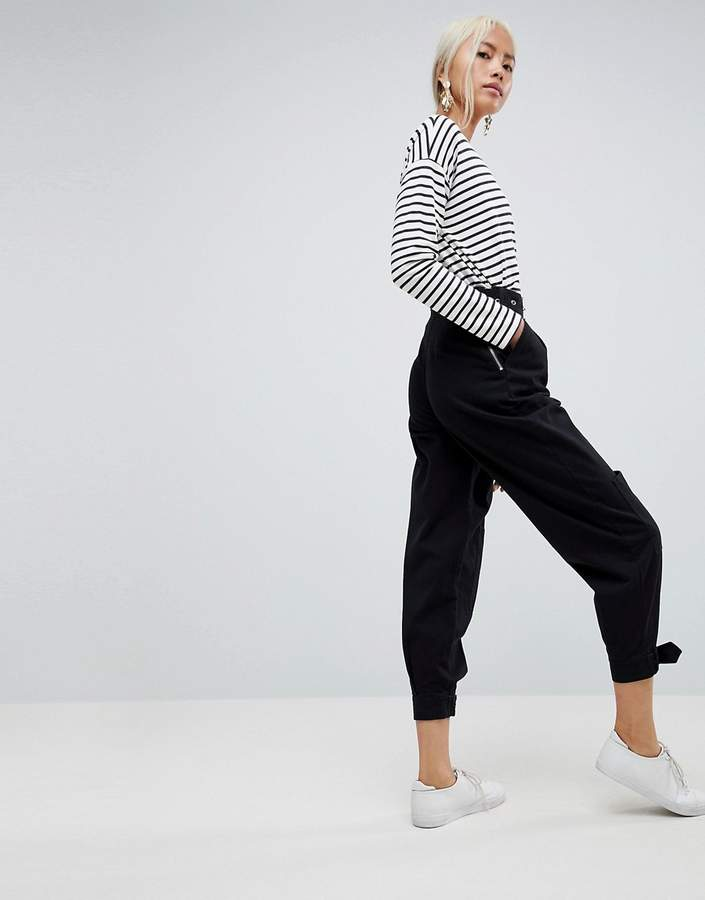 Asos Design Peg Trousers With Buckle Detail