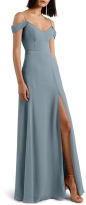 Jenny Yoo Collection Priya Cold Shoulder Chiffon Evening Dress