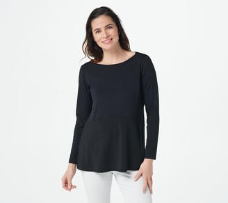 Joan Rivers Classics Collection Joan Rivers Luxe Knit Long Sleeve Swing Top with Pockets