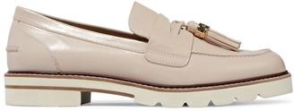 Stuart Weitzman Tassel-trimmed Glossed-leather Loafers