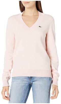 Lacoste Long Sleeve V-Neck Sweater (Nidus/Flour) Women's Clothing