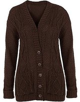 My Mix Trendz Women Ladies Plus Size Chunky Cable Knit Button Long Sleeve Cardigan