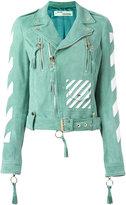 Off-White striped print biker jacket - women - Goat Skin/Viscose - S