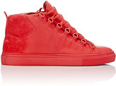 Balenciaga Men's Sprayed Suede Arena High-Top Sneakers-BURGUNDY