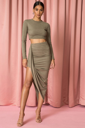 superdown Long Sleeve Drape Front Set Olive