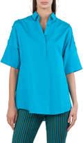 Akris Punto Button-Trim Cotton Kimono Blouse