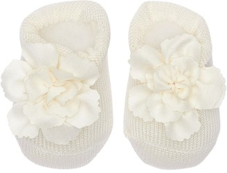 La Perla Cotton Knit Socks W/ Flower Appliques